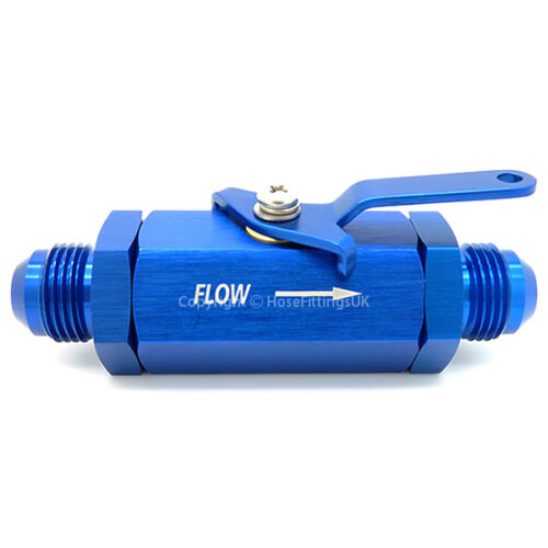 AN-10 bleu inline shut off valve robinet carburant huile coupe interrupteur essence raccord