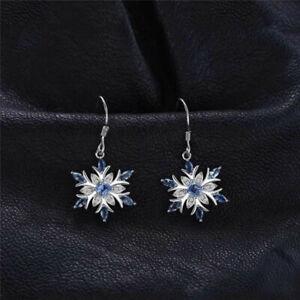 925-Silver-Aquamarine-Snowflake-Earrings-Drop-Dangle-Earrings-Christmas-Earrings
