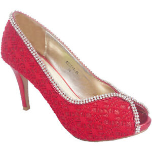 ca7766412ca465 Ladies High Heel Diamante Court Shoes Glitter Wedding Women Red Peep ...