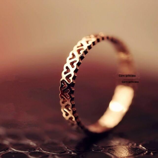 18K GP Gold Plated Titanium Steel Wedding Whole Round Love Heart Ring USPS