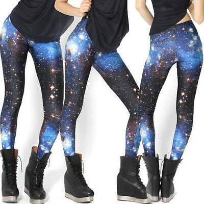 Womens Damen Sexy Leggings Stretchy Galaxy Print Strumpfhose Pants 3008