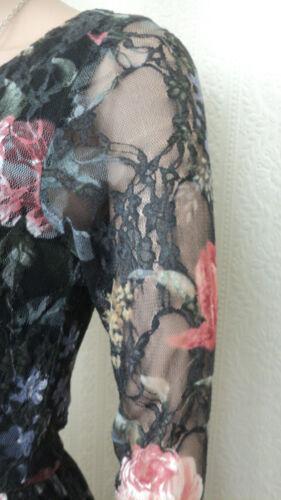 NEW EX C/&A LADIES VINTAGE FLORAL BLACK LILAC PINK RED SKATER LACE SUMMER DRESS