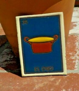 EL CORAZON HEART LOTERIA RED CLAY TILE 3 IN x 4 IN  MEXICO WITH FREE SHIPPING
