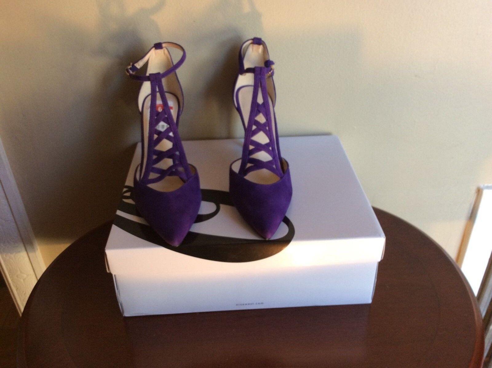 New nine west sz 6 primadona purple suede dress dress dress pump heel 97ef6f