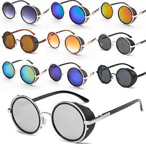 b4fa9a9e22a0 Image is loading Mirror-Lens-Round-Glasses-Cyber-Goggles-Steampunk- Sunglasses-