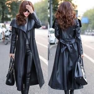 Black Leather Trench Coat Women S Genuine Lambskin Winter Long
