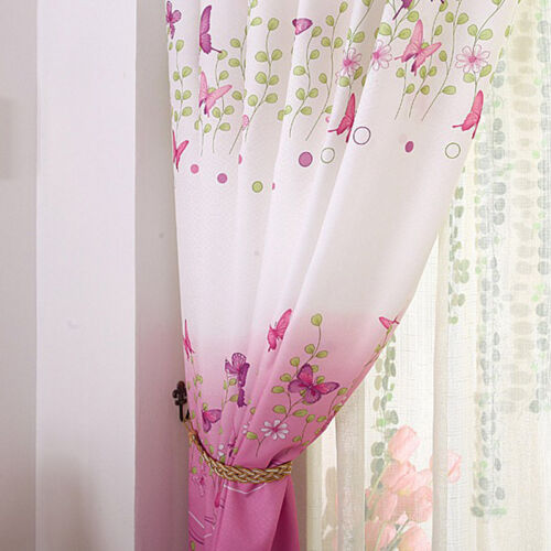 1pc Eyelet Butterfly Pink Finished Curtain Bedroom  Kids Window Curtains Decor