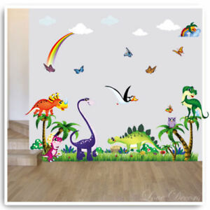 Dinosaur Wall Stickers Decals Animal Owl Jungle T-Rex ...
