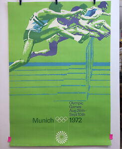 1972-MUNICH-OLYMPICS-Hurdling-A0-Size-Original-Promotional-Poster-Fine-Condition