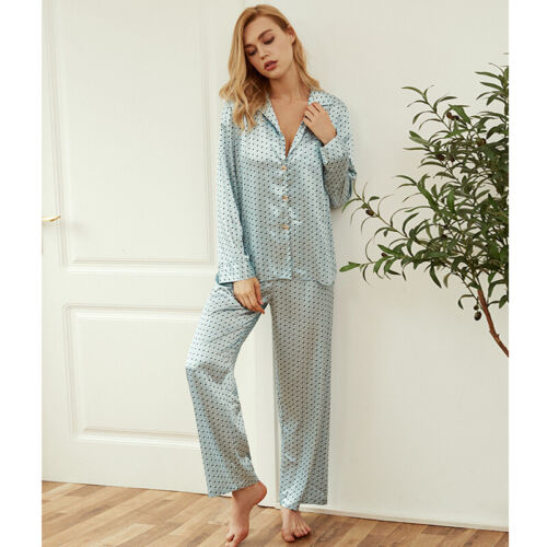Nouveau Satin Pois Bleu Ciel Femme Top /& Pantalon Pyjama Set ladpj 327