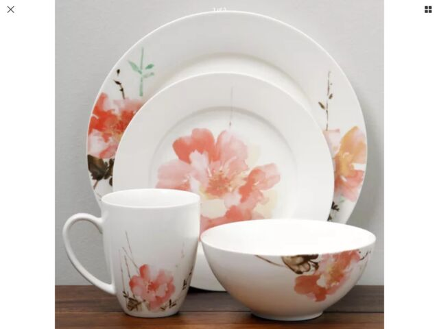 Oneida Amore Wild Rose 16 Piece Dinnerware Set Service For 4