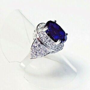 Handarbeit Luxus Cocktail AAA Kashmir Saphir 925 Silber Ring Rhodium 17,2 mm 54
