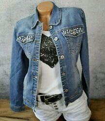 ♥ Strass + Perlen Jeansjacke Jeans Jacke BASIC Stretch BLOGGER Blau *530