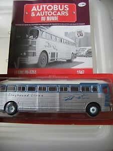 HACHETTE-Bus-autobus-autocars-GMC-PD-3751-Greyhound-1955-USA-N-54-1-43