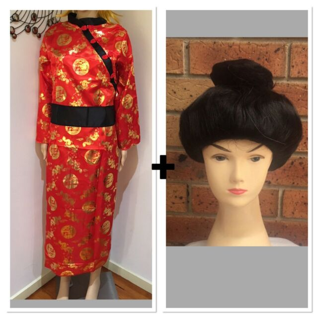 55158104241 Ladies Red Oriental Costume And Wig Chinese Japanese Kimono Fancy Dress  Costume