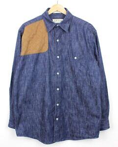 ORVIS-Manica-lunga-Denim-Uomo-spalla-patch-Camicia-Di-Cotone-Blu-Regular-Fit-M