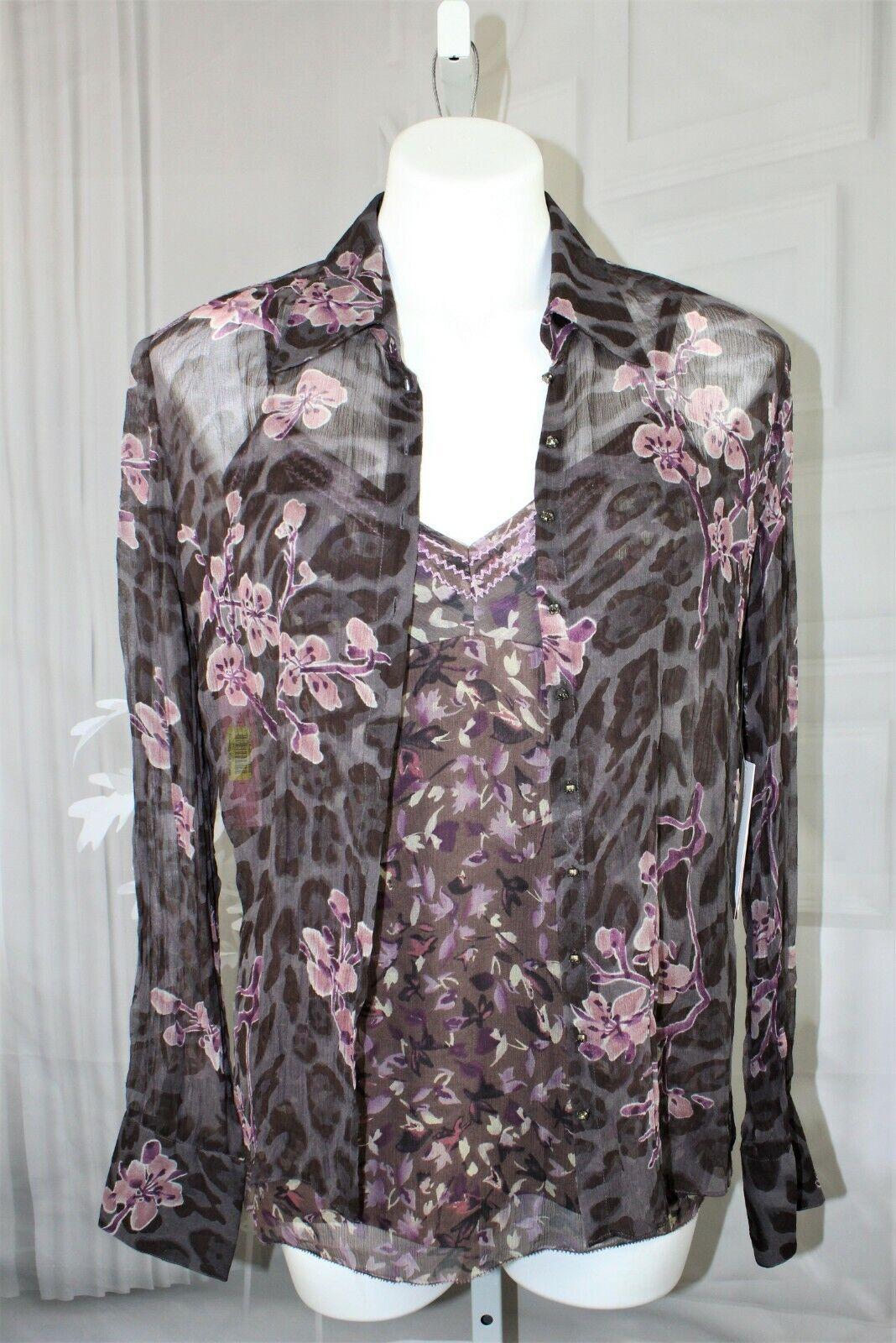 damen NEW  Gianni Bini Silk 2 pc blouse & cami tank top set Größe Medium M