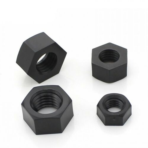 M2 x 0.4mm Pitch DIN934 Black Nylon Hex Full Nuts Plastic Hexagon Nuts 2mm