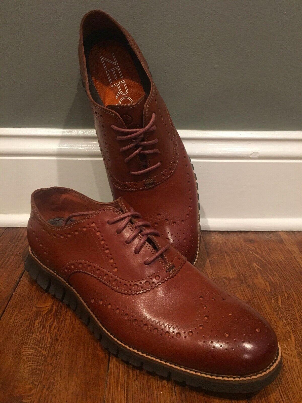 Cole Haan ZeroGrand Wingtip Oxfords British Tan Java Leather C29411 Men Size 10