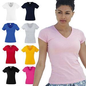 T-Shirt-Cotone-Donna-con-Scollo-a-V-Maglietta-Maniche-Corte-Fruit-Of-The-Loom