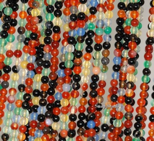 """3MM  PARTY MIXED AGATE AND JADE GEMSTONE RAINBOW ROUND 3MM LOOSE BEADS 16/"""""""