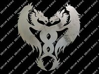 Dragons Crossed Chinese Oriental Medieval Tribal Metal Wall Art Decor Cut Out