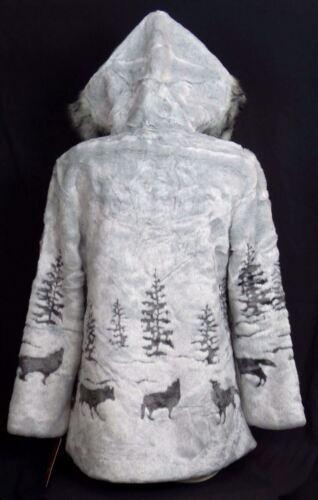 Wolf S M 2xl Fur Jakke L Xl Ny Mountain Fleece Grå Frakke Faux Black Hooded pZ78zpndq