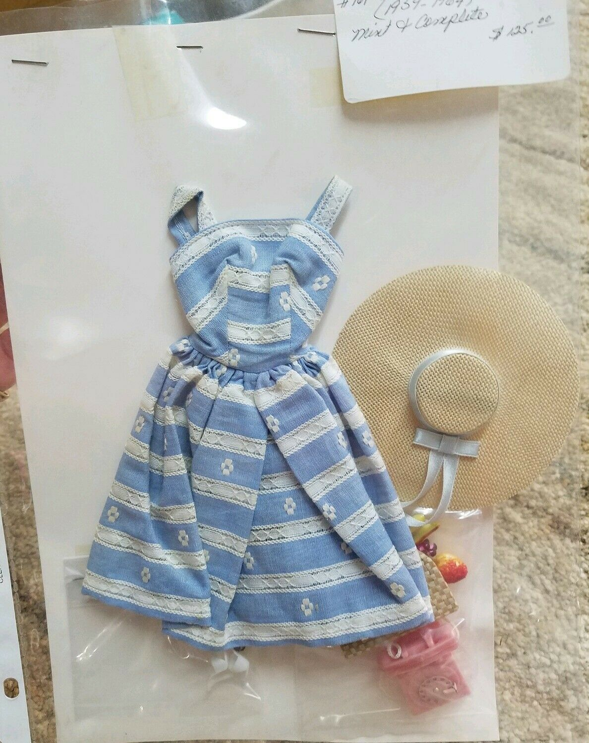 Barbie Vestido Original 1969 Suburban paso a paso como nuevo completo Sombrero Bolsa Zapatos de teléfono