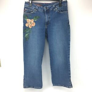MU-Jeans-Embellished-Denim-Capri-Womens-Size-10-Blue-Made-In-USA-A53