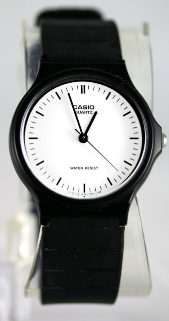Casio MQ-24-7E White Analog Watch with Black Markers Resin Band Classic NEW