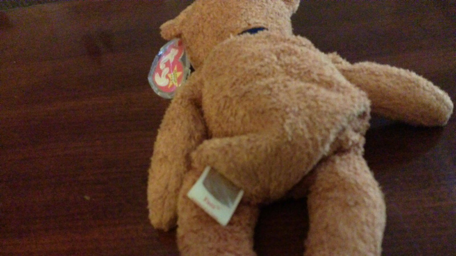 Fuzz beanie baby with with with plastic heart tag case and shiny tush tag c6650e