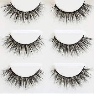 3-Pair-3D-Natural-Bushy-Cross-False-Eyelashes-Mink-Hair-Eye-Lashes-Black