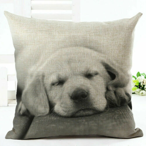 "18/""  Dog Pattern Cotton Linen Cushion Cover Pillow Case Sofa Home Decor"