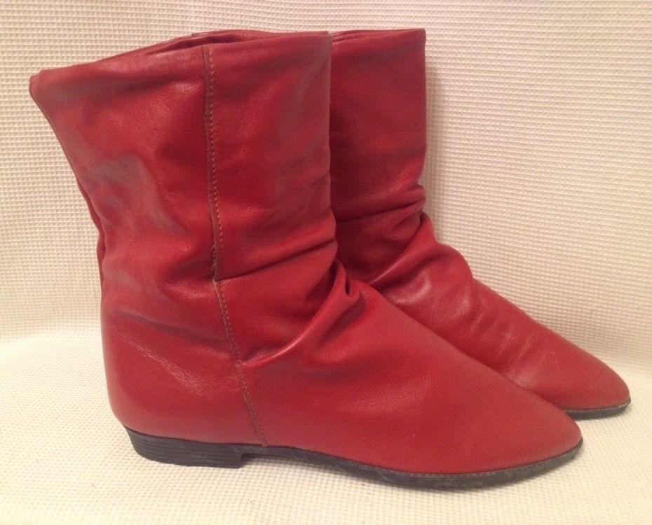 1980's Vtg Coasters Red Vinyl Slip On BoHo Granny Ankle Boots Vinyl 6.5M Hipster