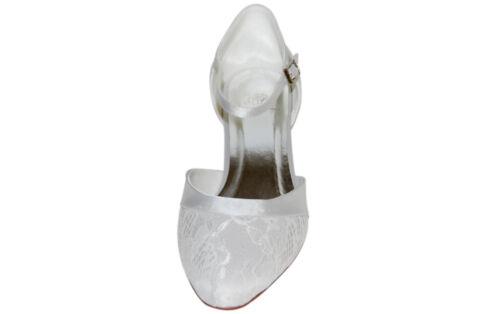 innen ausgepolstert HBH Brautschuhe aus Satin 3cm Absatz mit Spitzenüberzug