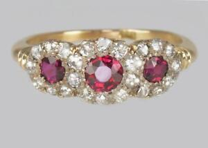 Antique-Ruby-amp-Diamond-Victorian-18ct-Gold-Triple-Cluster-Trilogy-Ring-circa1850