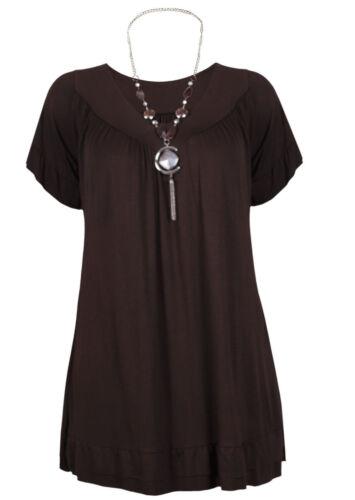 Damen Rüsche Halskette Gypsy Damen Kurzarm Lang V Ausschnitt Tunika Übergröße
