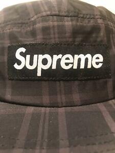 05f9bc74f52 Supreme Fleece Lined Ear Flap Camp Cap Hat -Black Grey Sz M L Brand ...