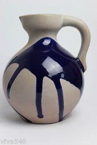 Marei-Roth-VASE-jug-grey-blue-dripping-glaze-fat-lava-era-vintage