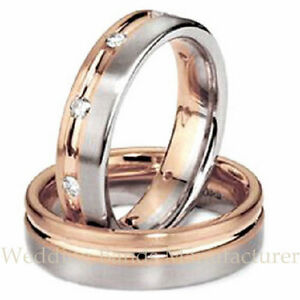 His And Hers Matching Wedding Bands Cheap.Details About 14k White Rose Pink Two Tone Gold His Hers Matching Wedding Bands Set Rings