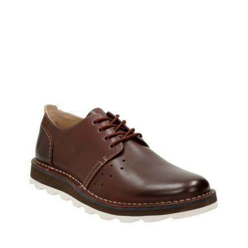 Men's Clarks DARBLE WALK Dark Brown / Chestnut Leather Lace-Up Casual Shoes