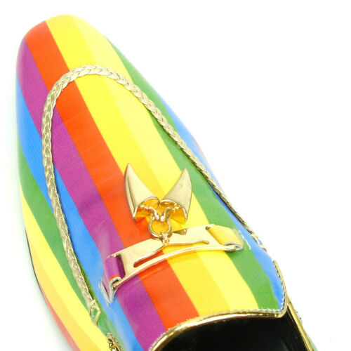 Details about  /FI-7157 Genuine Multi Color Leather with Gold Fiesso by Aurelio Garcia Slip on