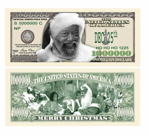 Merry Christmas Black Santa Clause Limited Edition Million Dollar Bills 5 Pack