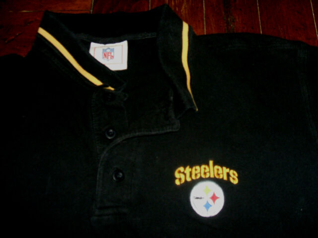 64fd2b4f6 Pittsburgh Steelers Vintage Embroidered Polo Style Shirt LARGE L NFL ...