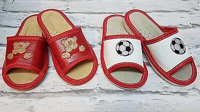 Niños Zapatillas Zapatos Puntera Abierta de cuero natural, hecho a mano en Colores múltiples