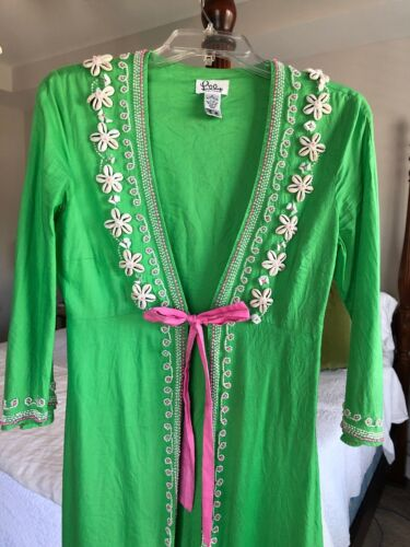 Lilly Pulitzer Green Cowrie Shells Pink Bow Resort