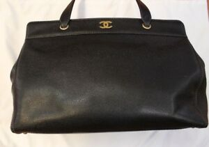 0230719a16e214 CHANEL Black Caviar Leather Larg Shoulder Bag Tote Handbag Satchel ...
