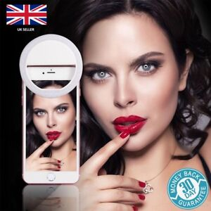 BLACK Selfie Ring Light LED - Camera Fill Flash Clip For Phone