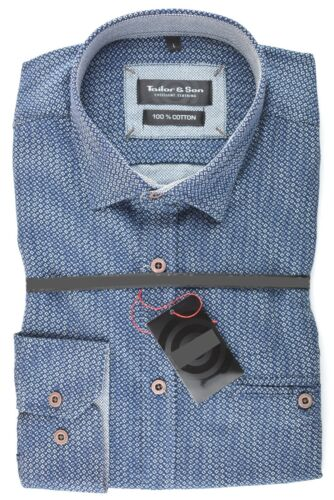 Tailor /& Son Herren Hemd Oberhemd Freizeithemd Langarm Blau Baumwolle M L XL XXL