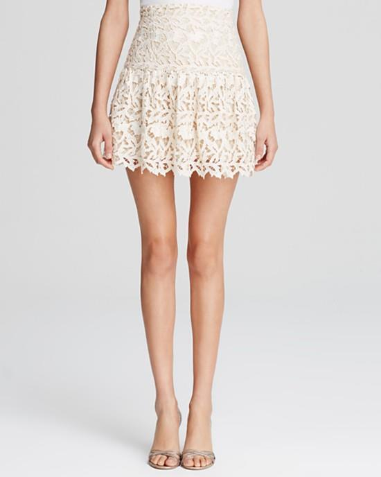 Alice & Olivia Cream Natural Jayce Mini Skirt  NWT 4
